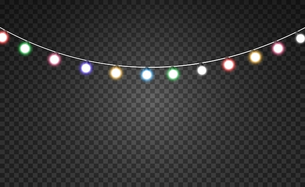 Christmas bright beautiful lights design elements glowing lights for design of xmas