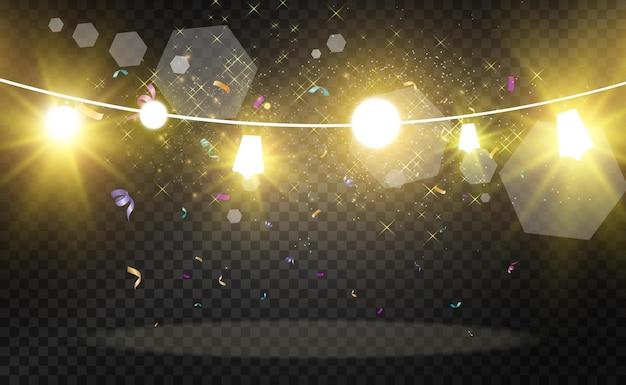 크리스마스 밝은 아름다운 조명 디자인 요소 크리스마스 인사말 c 디자인을 위한 빛나는 조명