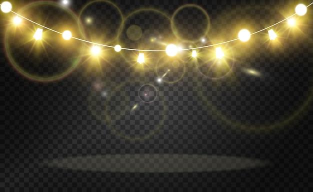 クリスマスの明るく美しいライト、デザイン要素。クリスマスグリーティングカードのデザインのための光るライト