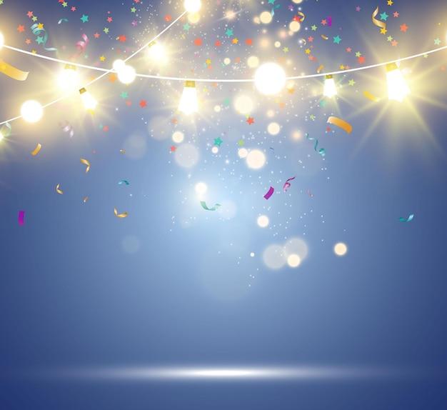 Рождественские яркие красивые элементы дизайна огней светящиеся огни для дизайна рождественской открытки