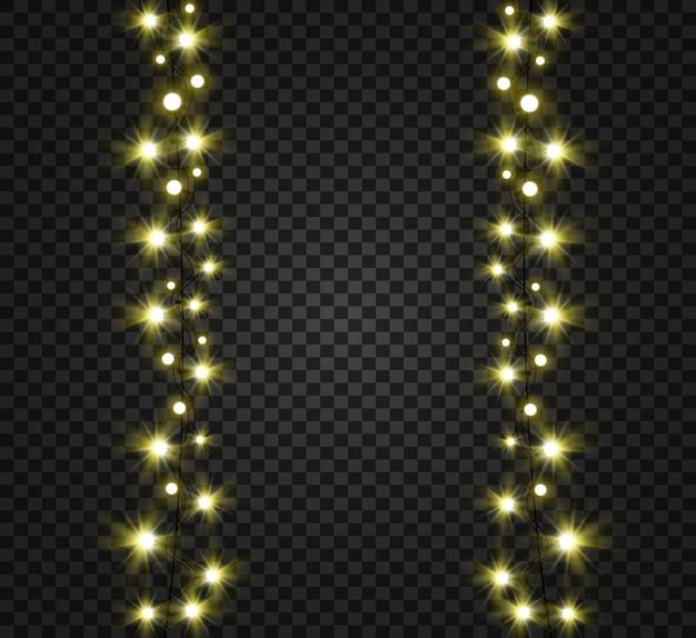 Рождественские яркие, красивые огни, элементы дизайна. светящиеся огни для дизайна рождественских открыток. гирлянды, легкие елочные игрушки.