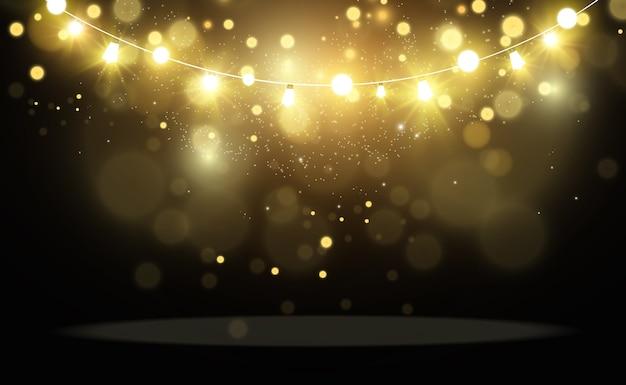クリスマスの明るく美しいライト、デザイン要素。クリスマスのグリーティングカードのデザインのための光るライト。花輪、軽いクリスマスの飾り。
