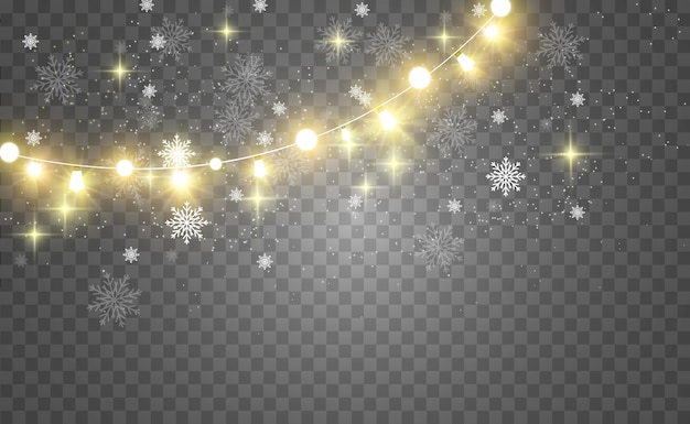 크리스마스 밝고 아름다운 조명, 디자인 요소. 크리스마스 인사말 카드 디자인에 빛나는 조명. 화환, 가벼운 장식.
