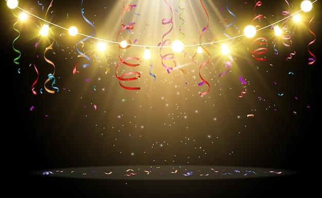 クリスマスの明るく美しい照明、デザイン要素。クリスマスのグリーティングカードのデザインの白熱灯。花輪、ライトデコレーション。