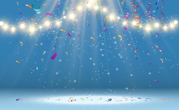 クリスマスの明るく美しい照明、デザイン要素。クリスマスのグリーティングカードのデザインの白熱灯。花輪、ライトデコレーション。 Premiumベクター