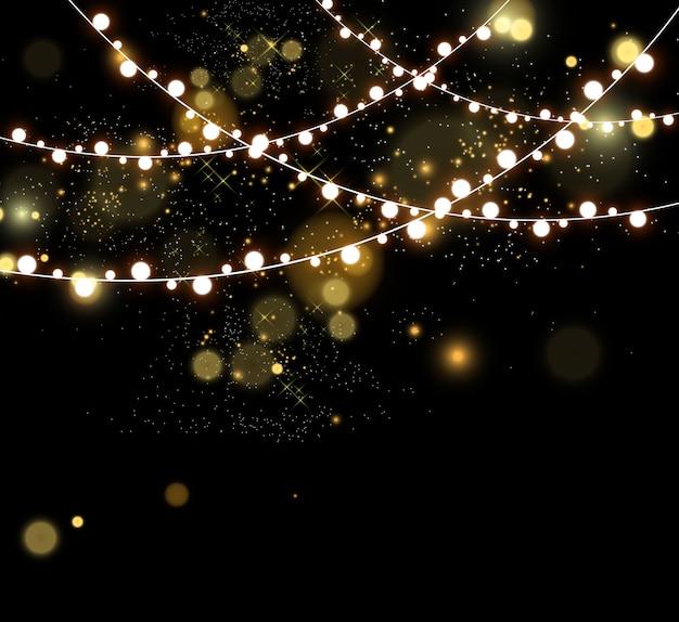 Рождественские яркие, красивые огни, элементы дизайна. светящиеся огни для дизайна рождественских открыток.