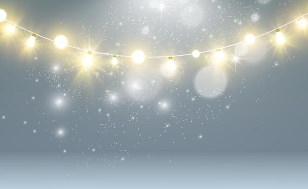 Рождественские яркие красивые элементы дизайна огней светящиеся огни для дизайна рождественского приветствия