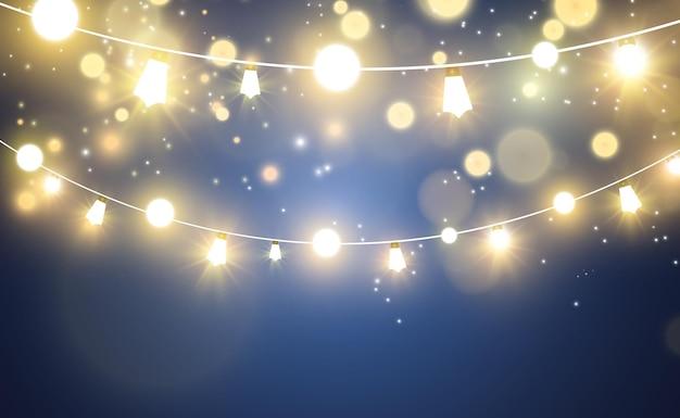 크리스마스 밝은 아름다운 조명 디자인 요소 크리스마스 인사말 디자인을 위한 빛나는 조명