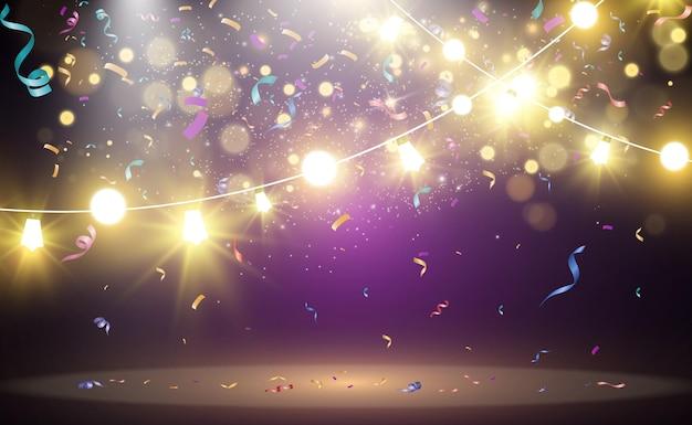 クリスマスの明るい美しいライトのデザイン要素クリスマスの挨拶のデザインのための輝くライト