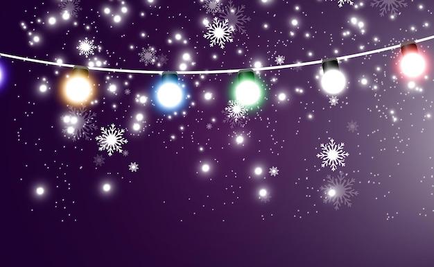 크리스마스 밝고 아름다운 조명 디자인 요소 크리스마스 디자인을 위한 빛나는 조명