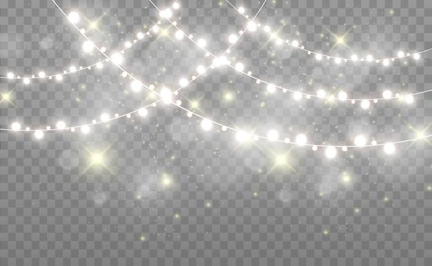 Christmas bright, beautiful lights, design elements. glowing lights, garlands, light christmas decorations.