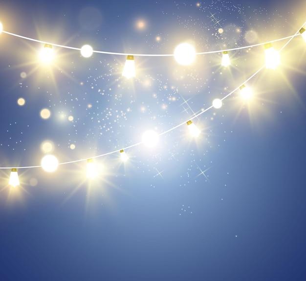 Рождественские яркие красивые огни элементы дизайна светящиеся