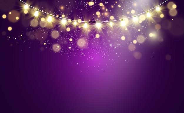クリスマスの明るい美しいライトのデザイン要素