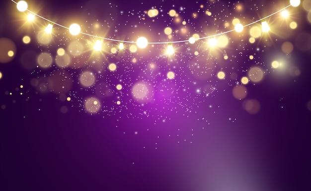 クリスマスの明るく美しいライト、デザイン要素。