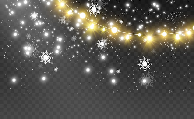 Рождественские яркие, красивые огни, элементы дизайна.