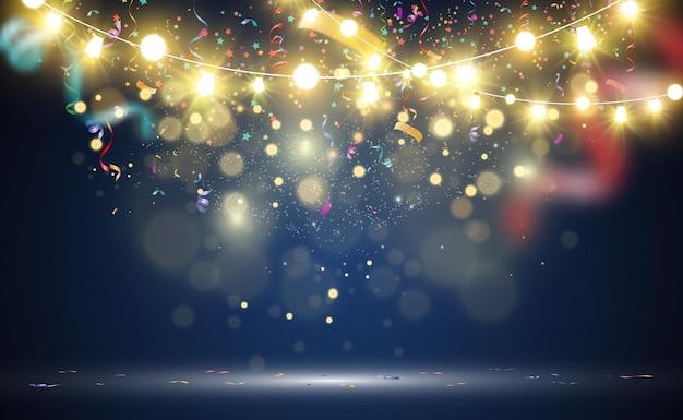 クリスマスの明るい美しいライトのデザイン