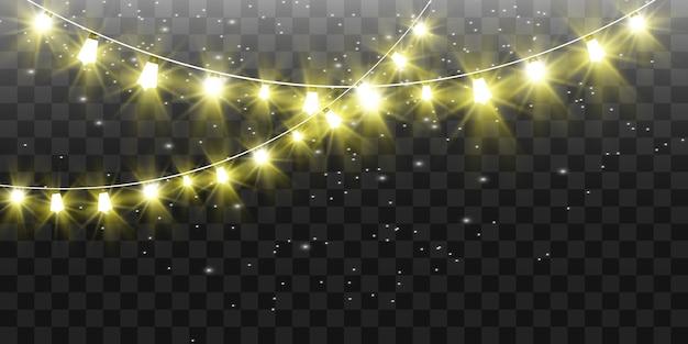 Рождественские яркие, красивые огни, стихии. светящиеся огни для дизайна рождественских открыток. гирлянды, легкие елочные игрушки.