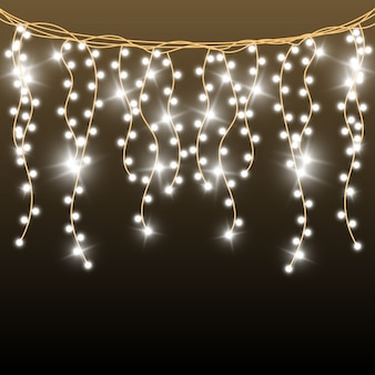 Christmas bright, beautiful lights,  elements. glowing lights for  of xmas greeting cards. garlands, light christmas decorations.