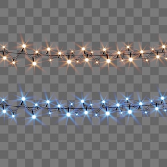 Christmas bright, beautiful lights,  . glowing lights for design of xmas greeting cards. garlands, light christmas decorations.