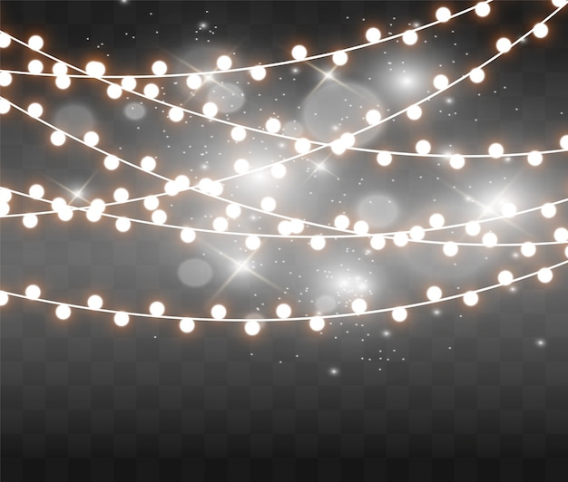 Christmas bright, beautiful lights, . glowing lights  of xmas greeting cards. garlands, light christmas decorations.