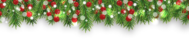 Christmas bright border with christmas tree branches and holly berries on white background. happy new year decoration.