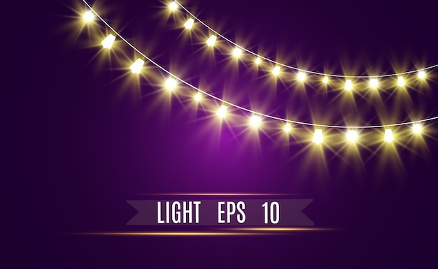 Christmas bright lights, glowing garland string. illuminated lightbulbs.