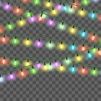 Christmas bright lights, set of color xmas garlands, festive decorations. vector glow light bulbs on wire strings