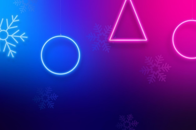 Рождественский яркий неоновый фон