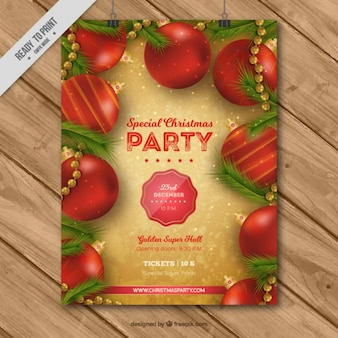 Christmas brochure with red baubles in realistic style