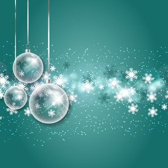 Christmas bubbles with snowflakes background
