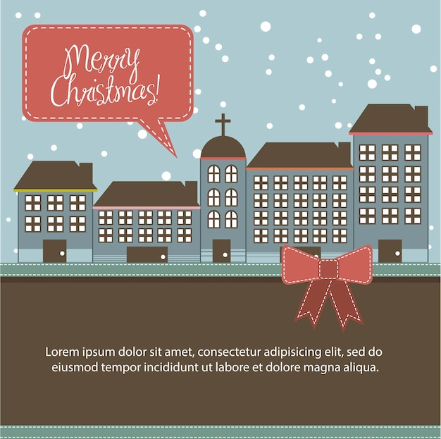 Christmas buildings card with space for copy vector illustration
