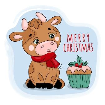 クリスマスの雄牛とケーキ。新年漫画手描きイラスト