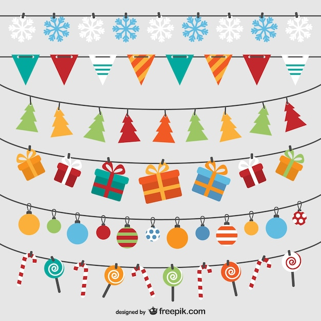 Christmas bunting pack Free Vector