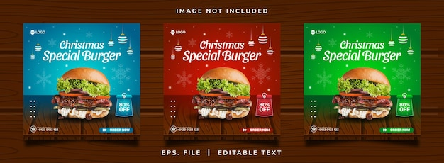 크리스마스 버거 판매 판매 소셜 미디어 프로모션 및 인스 타 그램 배너 게시물 디자인