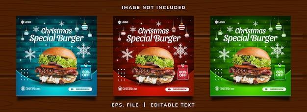 Рождественский бургер распродажа продажа продвижение в социальных сетях и дизайн поста в instagram
