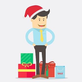 クリスマスのビジネスマンの漫画キャラクターベクトルデザイン