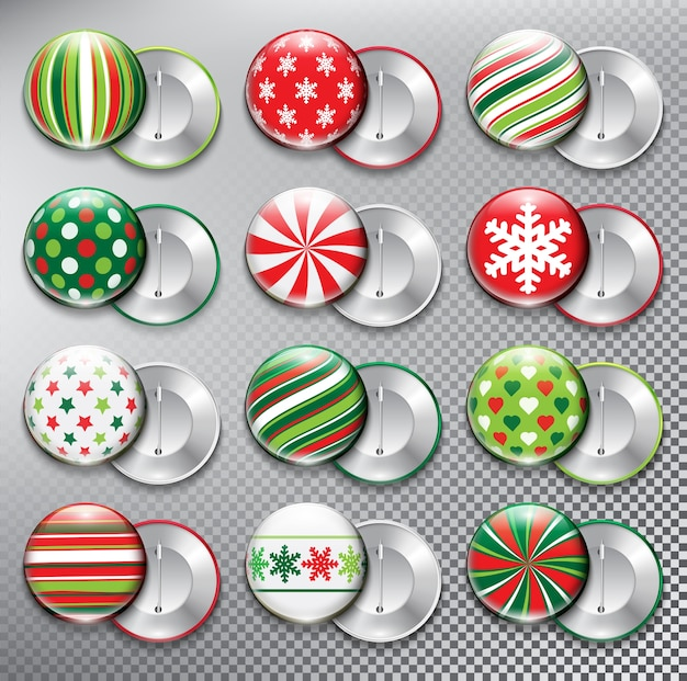 Christmas button badges collection decoration  elements for holiday cards  isolated on the white panel