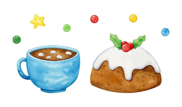 クリスマスケーキとホットチョコレートのカップ