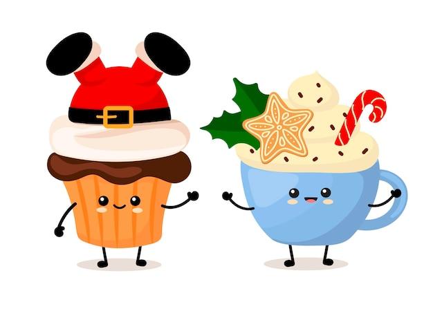 크리스마스 케이크 컵케이크와 뜨거운 카와이 음료 한 잔. 만화 스타일