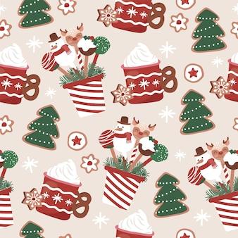 クリスマスケーキポップカフェスイーツビスケットシームレスパターン