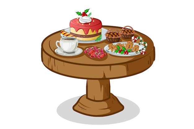 Christmas cake set on the table illustration