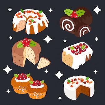 Christmas cake vector.