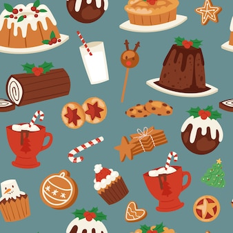 Christmas cakes, candy and sweets seamless pattern.