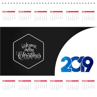 Christmas calendar design card with creative background vector