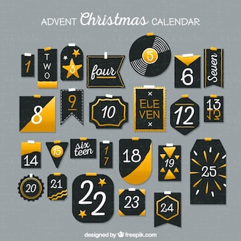 Christmas calendar in vintage style with golden details
