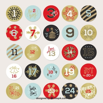 Christmas calendar of circles