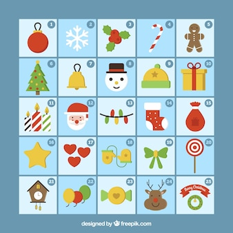 Christmas calendar template with decorative elements in flat design
