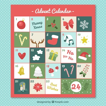 Christmas calendar with typical elements