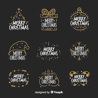 Christmas calligraphic badges collection