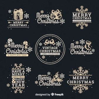 Christmas calligraphic contrast badge collection